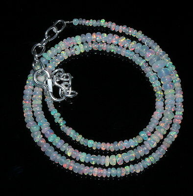 """29.61 Crts 1 Strands 3to5 mm 16"""" Beads necklace Ethiopian Welo fire Opal 00439"""