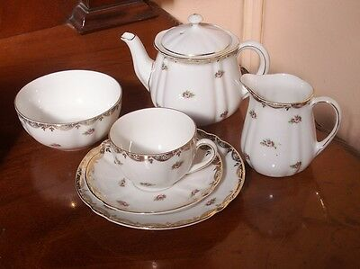 Old Vintage Antique Small  Bavarian Porcelain Tea For One Teapot  Tea set c.1920