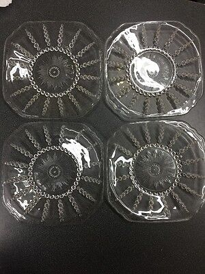 4 Federal Glass COLUMBIA Clear Bread & Butter or Dessert Plates 1938-42