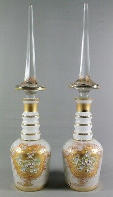 Pair Of Opaline Glass Decanters