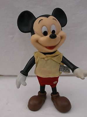 Vintage Walt Disney Productions 9 Inch Plastic Moveable Joints Mickey Mouse