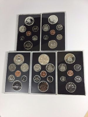 Canada Double Dollar Proof Coin Set With Silver Lot Of 5