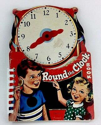 Vintage Children's Clock book- Round the Clock Book- printed in Japan- no date