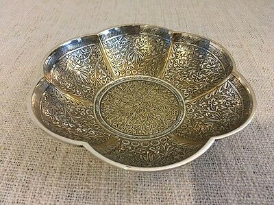 Vintage Silver Plated Islamic / Middle Eastern Embossed Decorated Design Dish
