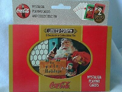 ~ COKE ~ Coca Cola ~ 1998 playing cards ~ 2 Decks ~Mint Sealed ~ Collectible Tin