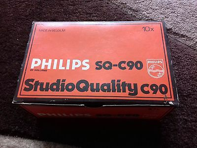 Vintage cassette Blank Tapes Philips sq c90 x 10 Boxed New Old made in Belgium