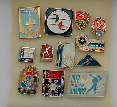 Lot 12 Different Russian Soviet USSR sports badges
