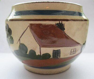 Old Devon Torquay Motto Ware Sugar Bowl 'From Devonport 'elp yerzel tu sugar'.