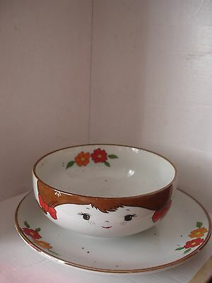 Vintage Chinese Children Set of Rise bowl & plate.