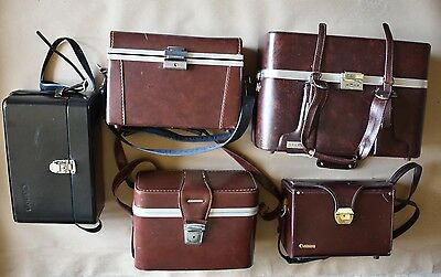 6x Job Lot Vintage Leather Camera Cases Canon Hard Retro Bags