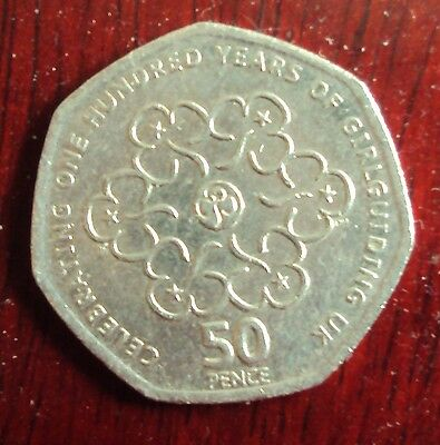 2010 Commemorative 50p coin 100 years of Girl Guiding UK