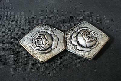 Vintage Womens Two Piece Silver Roses Metal Belt Buckle