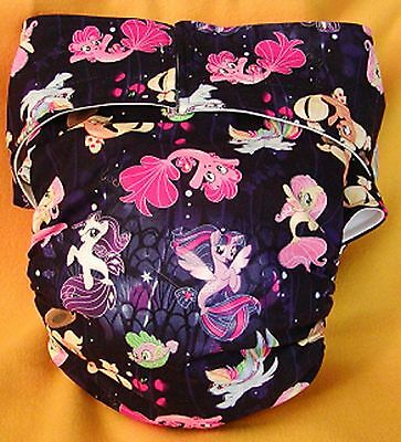 Adult New AIO Reusable Super Absorbent Cloth Diaper S,M,L,XL Little Pony Mermaid