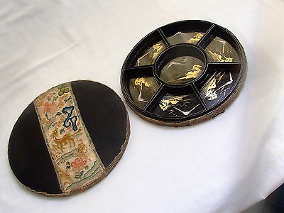 Antique Round Embroidered Gilt Black Lacquer Wood 7 Section Box Japan Fuji 12""