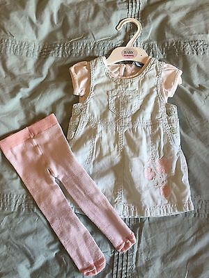 John Lewis Baby Dungarees Dress Outfit 3-6 Months