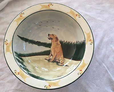 Zeppa Studios Hand Painted & Signed Round Rimmed Dog Bowl Labadore Large