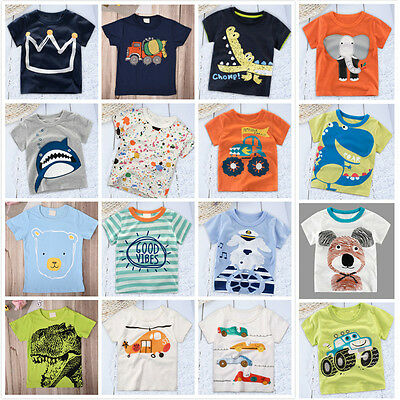 Kids Baby Boys Girls Short Sleeve Cotton Tee T-Shirt Summer Cartoon Tops 2-6Y