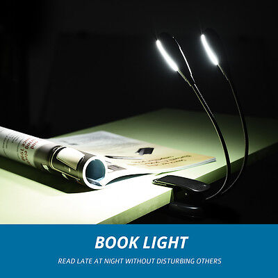 Clip-on Mini Dual-head Book/Music Light Rechargeable USB Reading LED Lamp 5Level