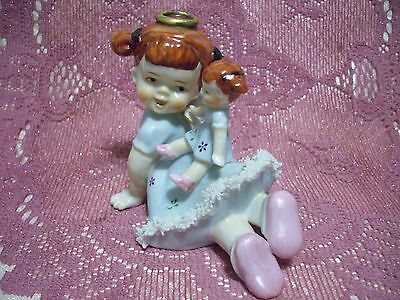 Very RARE Vintage Ardalt Green Angel Girl with Baby Doll on her back Figurine EX