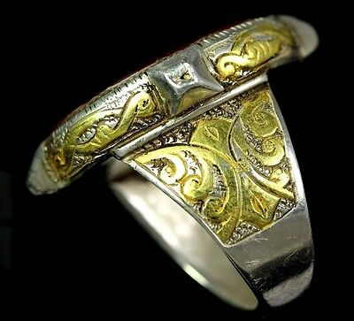 Beauty!! Islamic seal intaglio calligraph antique sterling silver ring gold wash