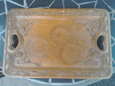 Antique wooden hand carved tray in an arts and crafts style