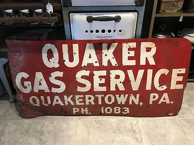 RARE 1950's Quaker Gas Service METAL Advertising SIGN