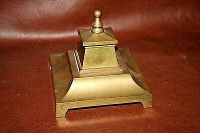 "Antique French Art Nouveau Pyramid Style 6x6x5"" Brass Inkwell w/ Glass Liner"