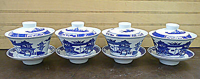 Chinese Guy Wan Style 4 Set Blue Willow Design Porcelain Tea Cup Set