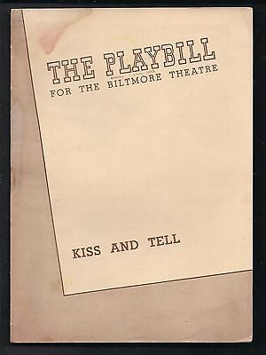 1944 KISS AND TELL The Biltmore Theatre Theater Program - as is