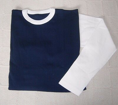 Vintage Long-Sleeve Stretch Top - Age 16 Approx - Navy/White - Ribbed  - New