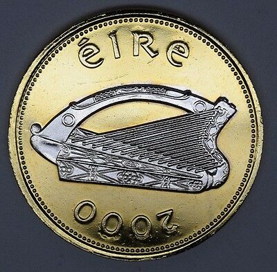 ireland irish punt year 2000 proof pound gold layered harp rhodium platinum
