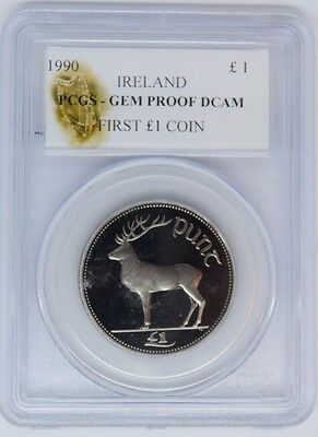 ireland irish punt 1990 proof pound pcgs gem proof dcam first 50 struck £1 coins