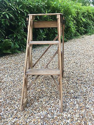 Vintage Pair Of Lovely Small Wooden Folding Steps