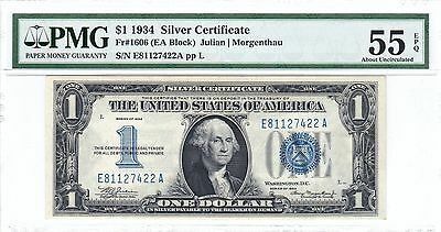 1934 $1 Silver Certificate Dollar PMG 55 EPQ AU About Uncirculated Funny Back
