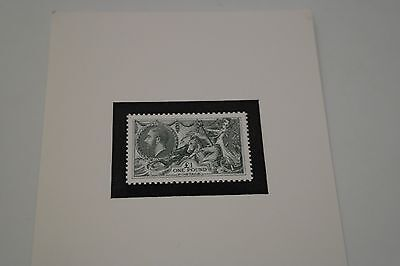 KGV SG450 Seahorses £1 stamp reproduction / embossed card / replica / facsimilie