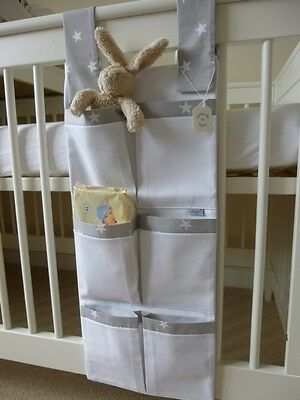 Bespoke Nursery Cot Organiser/Tidy - Grey/White Star 100% Cotton - BNWT