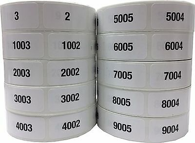 Consecutive Number Labels, 3/4 x 1.5 Inch Wide, 1 Label per Number, 1 - 10000