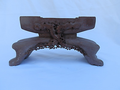 Large Antique Chinese Carved Stoapstone Table Screen Stand