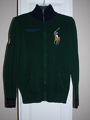 Polo Ralph Lauren Green Navy Zip Front Cardigan Sweater Youth Boys Size 16 - 18