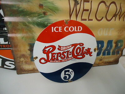 Vintage Pepsi Cola  Porcelain Gas Station Sign