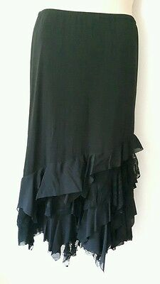 size 14 skirt black ruffle per una marks and Spencer gothic