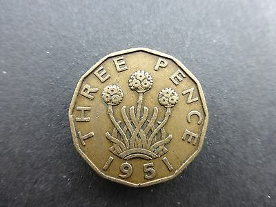 George vi Brass Threepence coin 1951 good grade scarce date