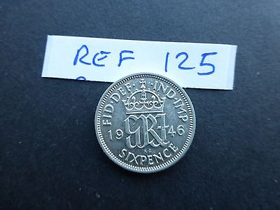 George vi silver sixpence coin    1946 A/unc         Ref 125