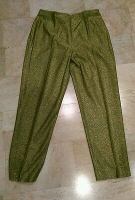 METALLIC Green High Waist 50s Vintage COCKTAIL CAPRI Cigarette PANT_Rockabilly