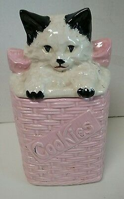 Mccoy Cookie Jar Kitty Cat In A Pink Woven Basket Vintage