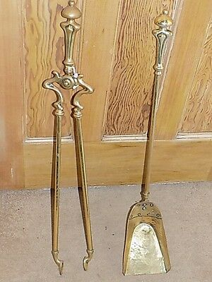 Victorian brass Tongs and shovel (E)