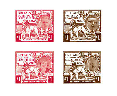 Limited Edition Brexit stamp designs (inspired by George V BEE)
