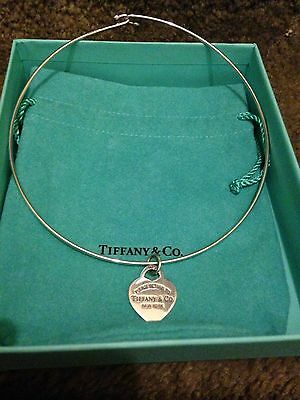 """Return to Tiffany & Co Heart Charm 16"""" Wire Choker Necklace"""