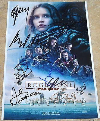 """Star Wars Rogue One Multi Signed 12"""" x 8"""" Cast Photo"""