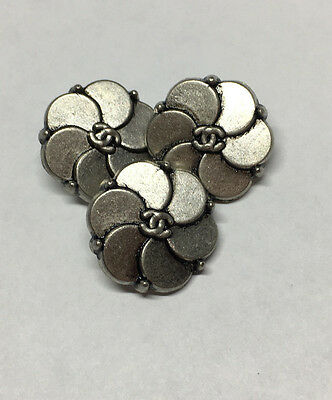 Chanel Buttons - Set of 3 SMALL Silver Color 1.5cm